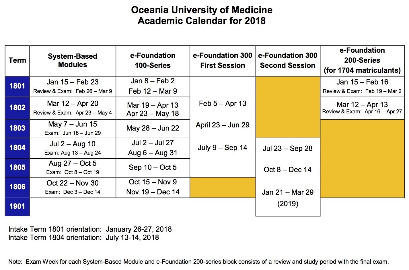 Academic Calendar 2019 – OUM
